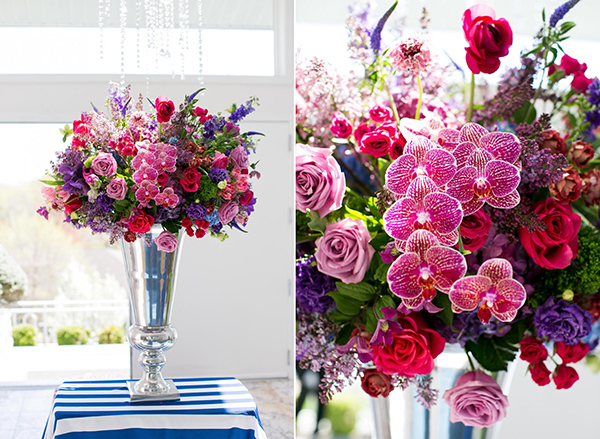 Detail of the florals at a Kentucky-Derby-inspired bridal shower.