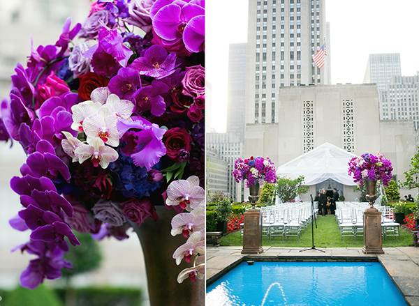 Orchids, orchids, orchids! A wedding at Rockefeller Center's rooftop, 620 Loft and Garden.