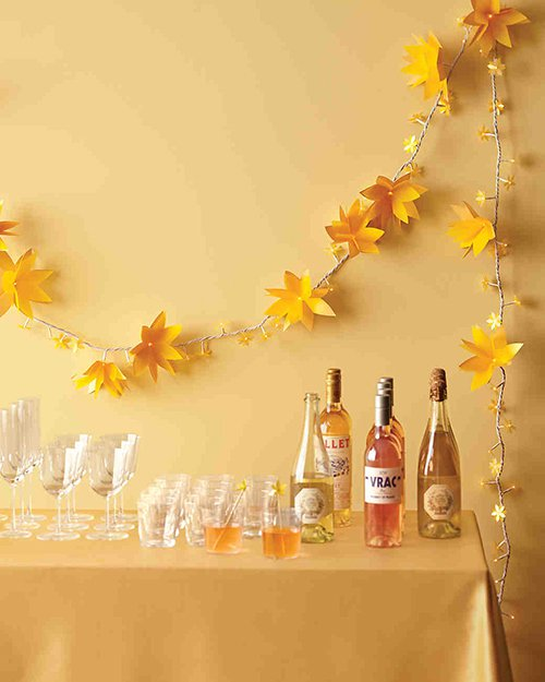 blossoming backdrop for a bar