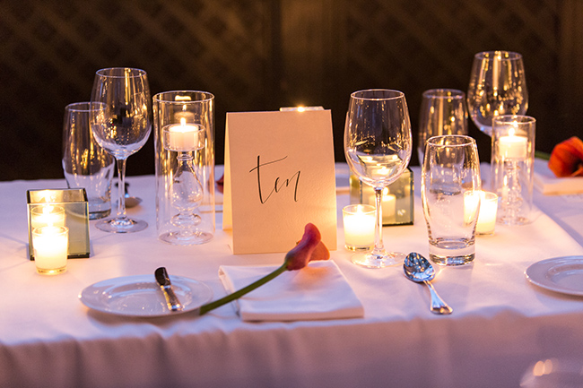 A nice touch: a calla lily at each place setting