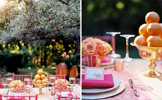 For this hot-pink-and-mango fete, Ross created pyramids of oranges in our Brass Urn as centerpieces.