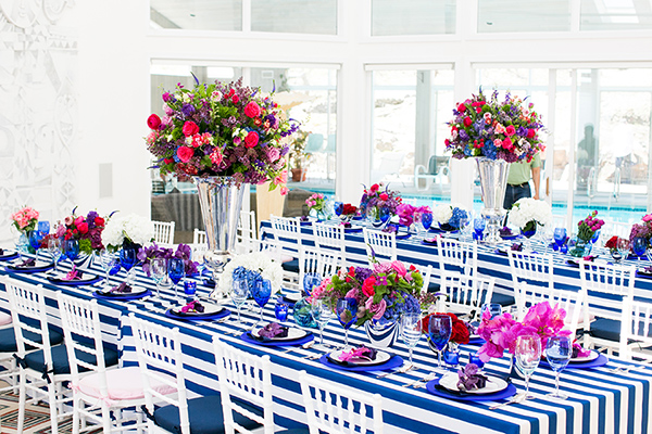 The tables at the Kentucky-Derby-inspired bridal shower.