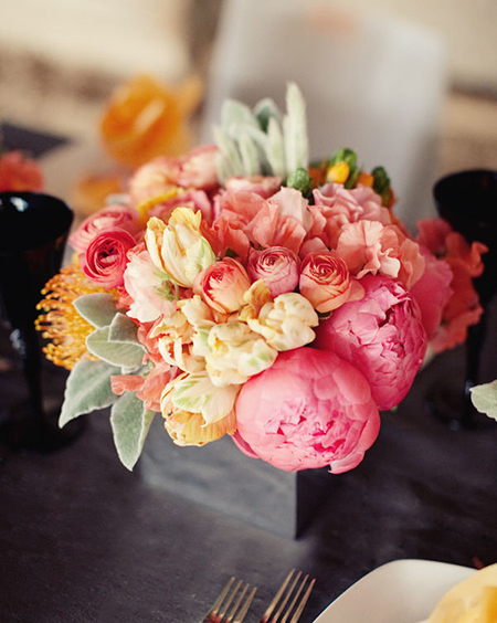 8. Coral, pink, & yellow centerpiece. (via Style Me Pretty)