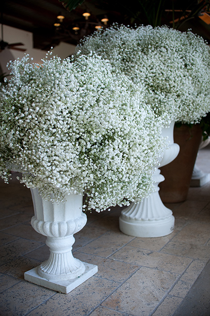 Urns with baby's breath