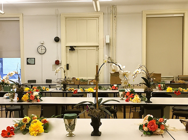 Student stations ready for them to start their boho-chic arrangements