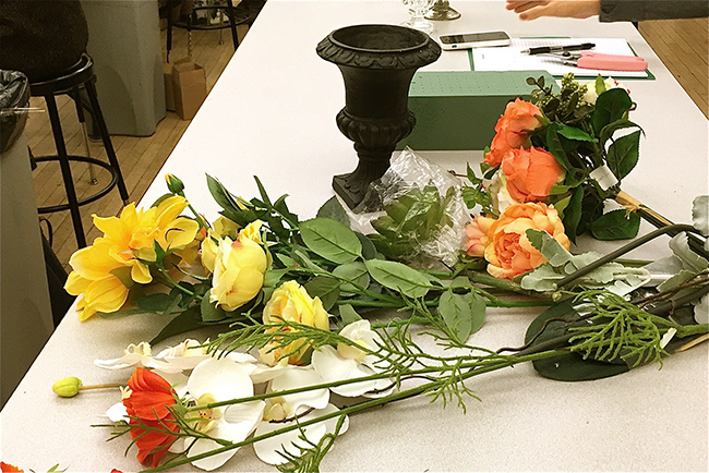 Silk flowers and tools to make the arrangement