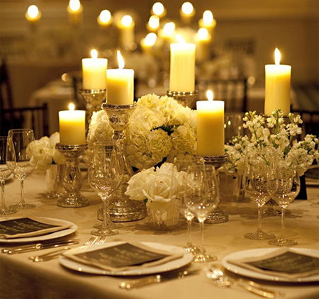 timeless silver and white wedding tablescape