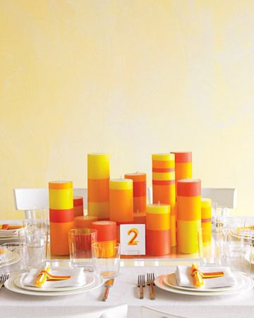 bold and modern striped candle centerpiece
