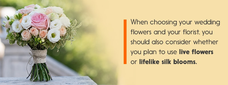 Ultimate guide to picking your wedding flowers jamali garden when choosing your wedding flowers and your florist you should also consider whether you plan to use live flowers or lifelike silk blooms mightylinksfo
