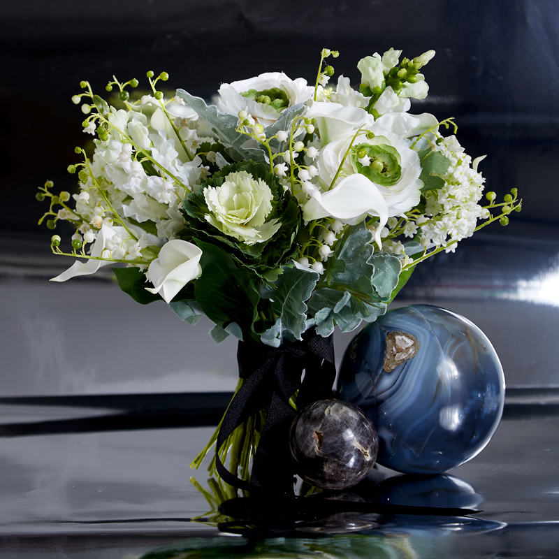 ranunculus lily of the valley white bridal bouquet