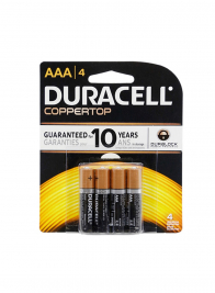 Coppertop Duracell AAA Battery, Pack Of 4