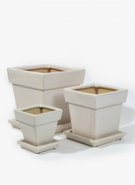 White Ceramic Pots With Saucer