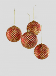 4in Red/Gold Durian Glitter Ball, Set of 4