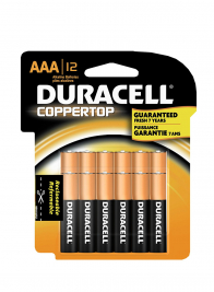 Coppertop Duracell AAA Battery, Pack of 12 24896