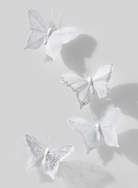 4in White Butterfly, Set of 12