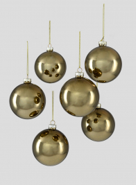 3in Shiny Antique Gold Glass Ball Ornament, Set of 6