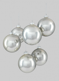 4in Shiny Pearl Glass Ball Ornament, Set of 6