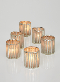 3in Silver Corrugated Glass Votive Holder, Set of 6