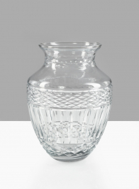 9 1/2in H Classic Etched Glass Ginger Vase