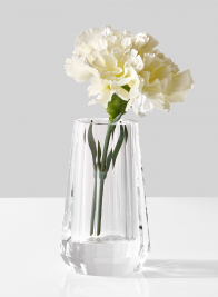 crystal glass bud flower vase with carnation