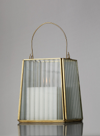 5 1/2in H  Striped Glass Gold Trapezoid Hurricane