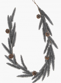 5ft Glittered Black Pine Garland with Pine Cones