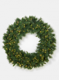 48in Pine Wreath With Warm White LED Lights