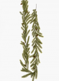 5ft White Pine Garland With Pine Cones