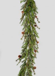 5ft Cypress Garland With Pine Cones