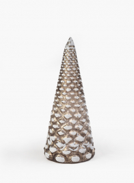 7in Frosty Tips Platinum Glass Christmas Tree