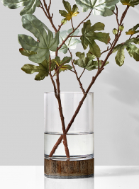 Clear Glass Vase On Wood Base