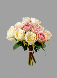 A Dozen Cream and Pink Roses Bouquet
