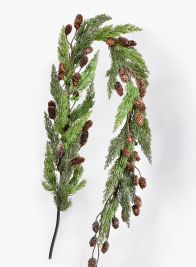 5ft Glittered pine Garland with Pine Cones