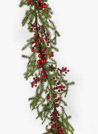 Pine Garland With Red Berries & Mini Pine Cones