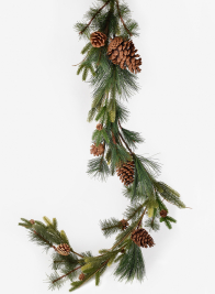 Mixed Pine Garland With Pine Cones