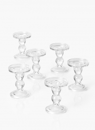 4 1/2in Clear Glass Pilar Holder, Set of 6