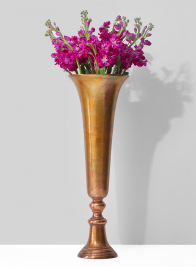 21 1/2in Old Copper Trumpet Vase