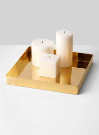 gold square candle tray modern centerpiece