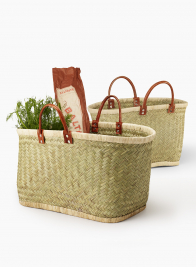 Natural Straw & Raffia Bag With Leather Handles