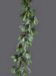 Snowy Mixed Evergreens Garland With Pine Cones