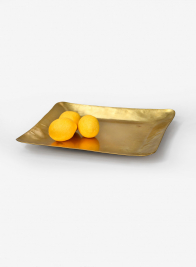 12 1/2in Antique Square Raw Brass Tray