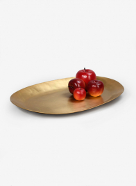 17in Antique Oval Raw Brass Tray
