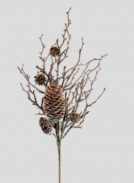 Iced Twig Pick With Pine Cones