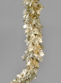 74in Glittered Light Gold Maple Leaf Garland