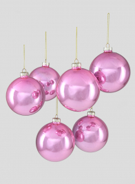 4in Shiny Pink Glass Ball Ornament, Set of 6