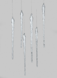 12in Glass Icicle, Set of 6