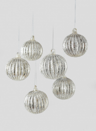 3in Glittered Pleated Glass Ball Ornament, Set of 6