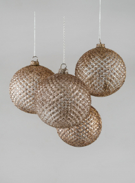 4in Brown Glitter Hobnail Glass Ornament Ball, Set of 4
