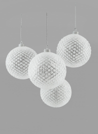 4in Iced Glitter Glass Ornament Ball, Set of 4