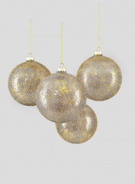 4in Gold Dust Glass Ball Ornament, Set of 4
